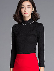 Women's Going out Simple Summer / Fall Shirt,Embroidered Crew Neck Long Sleeve Black Rayon Thin