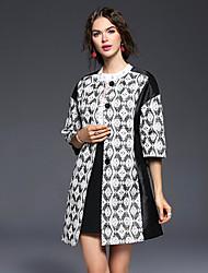 Feminino Casaco Longo Casual Sofisticado Outono, Jacquard Branco Poliéster Decote Redondo-Manga ¾