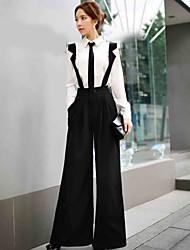 sólidos pantalones anchos de cintas de las piernas de la mujer dabuwawa, calle elegante / sofisticada
