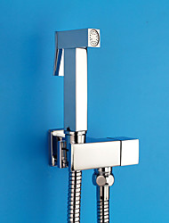 Bidet Faucets  ,  Modern  with  Chrome Single Handle One Hole  ,  Feature  for Wall Mount / Pull out