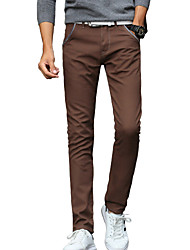 Men's Slim Chinos PantsCasual/Daily Simple Solid Mid Rise Button Cotton Spandex Cashmere Micro-elastic Winter MP-816