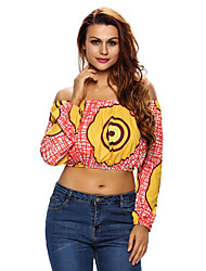 Women's Print Off Shoulder Long Sleeve Crop Top