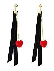 Imitation Gemstone Red Heart Long Earrings