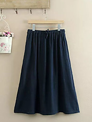 Women's Swing Solid Pleated Skirts,Going out Simple Mid Rise Knee-length Elasticity Cotton Micro-elastic Fall