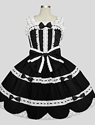 One-Piece/Dress Sweet Lolita Princess Cosplay Lolita Dress Solid Sleeveless Long Length Dress Petticoat For Cotton