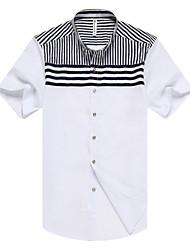 Herren Gestreift Retro Einfach Lässig/Alltäglich Formal Arbeit Hemd,Hemdkragen Sommer Kurzarm Rot Weiß Schwarz Kunstseide Modal Mittel