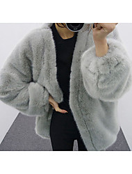 Women's Going out Street chic Fur Coat,Geometric Long Sleeve Winter Black Gray Rabbit Fur Thick