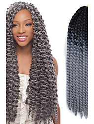 Preto ombre cinza havana crochet torção tranças extensões de cabelo 22 kanekalon 2 vertente grampo 120g tranças