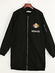 Buchstabe Einfach Jacke,Ständer Frühling / Herbst Langarm Weiß / Schwarz Baumwolle Mittel