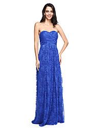 2017 lanting bride® bodenlange Spitze elegante Brautjungfer Kleid - Schatz mit Rüschen