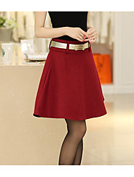Women's Bodycon Solid Skirts,Casual/Daily Mid Rise Mini Elasticity Cashmere Micro-elastic Fall