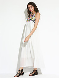 Going out Cute Loose Dress,Print Round Neck Maxi Sleeveless White Polyester Summer High Rise