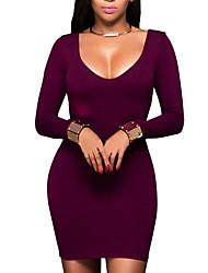 Moulante Robe Femme Décontracté / Quotidien simple,Couleur Pleine Col Arrondi Mini Manches Longues Rouge Polyester Printemps / Automne