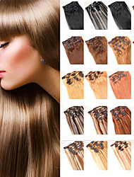 Анна 7pcs бразильский клип в расширениях человеческих волос бразильский волос прямой клип в продлении 70g девственные волосы пучки