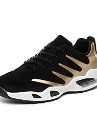 Masculino-Tênis-Conforto-Rasteiro-Preto e Dourado Preto e Vermelho Preto e Branco-Camurça Couro Ecológico-Para Esporte Casual