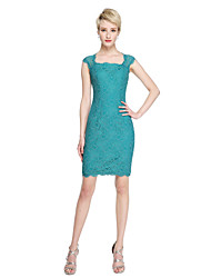 Sheath / Column Square Neck Short / Mini Lace Bridesmaid Dress with Lace by LAN TING BRIDE®