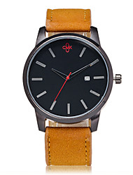 Men's Wrist watch Quartz PU Band Black Brown Brand