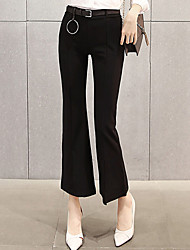 Women's Wide Loose Leg Chinos PantsGoing out Simple Solid High Rise Button Cotton Stretchy Spring