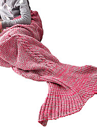 Grils Super Cozy Warm Knitted Mermaid Tail Blanket Sofa Blanket Sleeping Bags 100% Quality Acrylic Material in Light Purple Color (140cm*60cm)