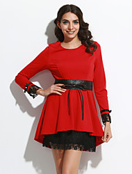 Women's Going out Street chic A Line Dress,Solid Round Neck Above Knee Long Sleeve Red / Black / Purple Polyester Fall