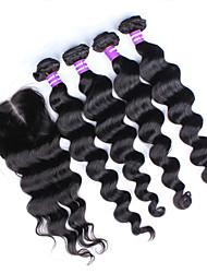 Trame cheveux avec fermeture Cheveux Péruviens Ondulation Lâche 4 Pièces tissages de cheveux
