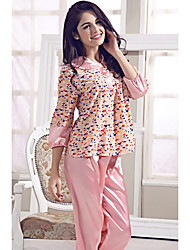 Women Matching Bralettes Satin & Silk Teddy Suits Nightwear,Print Print-Medium Silk Satin Ice Silk Pink