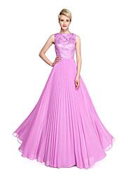 2017 Lanting Bride® Floor-length Chiffon Lace Elegant Bridesmaid Dress - A-line Bateau with Pleats