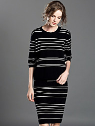 INPLUS LADY Women's Casual/Daily Simple Fall / Winter Set Skirt SuitsStriped Round Neck  Length Sleeve Black Acrylic / Polyester Medium