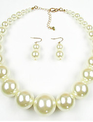 Women's Jewelry Set Pearl European Pearl 1 Necklace 1 Pair of Earrings For Daily Wedding Gifts