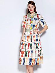 Feminino balanço Vestido, Casual Vintage Estampa Colorida Decote Redondo Altura dos Joelhos Manga Longa Branco Algodão / Poliéster Outono