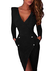 Women's Party/Cocktail Bodycon Dress,Solid Deep V Asymmetrical Long Sleeve Red / Black Polyester / Others Fall