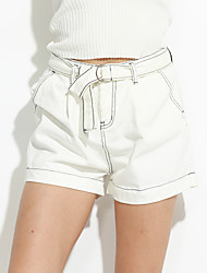 Women's Solid White / Black Shorts Pants,Simple