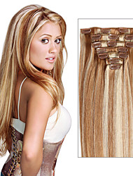7 Piece or 8 Piece Remy Clip In Human Hair Extensions Straight Style Hair Extensions As Pictures Color