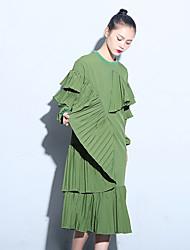 c cour seattle # originale signe maison irrégulière robe plissée femme