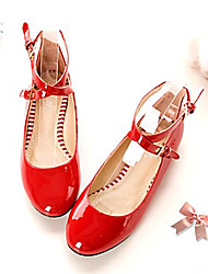 Women's Shoes Leatherette Flat Heel Round Toe Flats Outdoor / Office & Career / Casual Black / Pink / Red / White