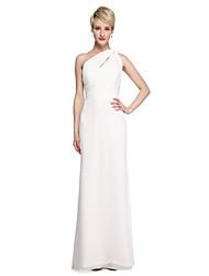 2017 Lanting Bride® Floor-length Chiffon Elegant Bridesmaid Dress - Sheath / Column One Shoulder with Sash / Ribbon Side Draping Ruching