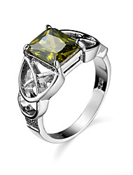Brand Design Classic Olive Green Zircon Copper Engagement Wedding Rings Platinum Plated antiqueRing for Women