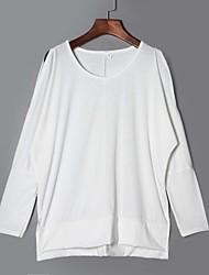 Damen Solide Einfach / Street Schick Lässig/Alltäglich T-shirt,Rundhalsausschnitt Frühling / Herbst Langarm Weiß / Schwarz / Grau
