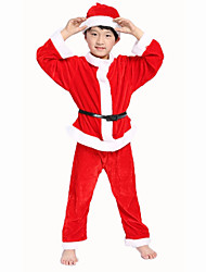 Santa Suits Festival/Holiday Halloween Costumes Red Solid Coat / Pants / Belt / Hats Christmas Unisex Pleuche