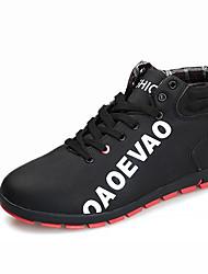 Hombre Zapatillas de Atletismo Confort PU Otoño Invierno Casual Confort Con Cordón Tacón Plano Negro Azul Oscuro Gris Rojo Plano