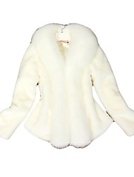 Women's Casual/Daily Simple Fur Coat,Solid Cowl Long Sleeve Winter White / Black Fox Fur Thick