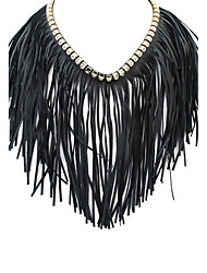 Retro Exaggerated Tassel Choker Necklaces Jewelry Party Tassels Leather Women