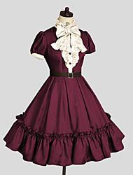 Uma-Peça/Vestidos Doce Rococo Cosplay Vestidos Lolita Vermelho Cor Única Midi Vestido Para Feminino Algodão