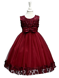 Girls' Embroidery Bowknot Formal Party Princess Bridal Fancy Dress All Seasons Sleeveless Party Dress