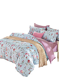Mingjie 100% Cotton Blue Flowers Bedding Sets 4PCS for Twin Full QueenSize from China Contian 1 Duvet Cover 1 Flatsheet 2 Pillowcases