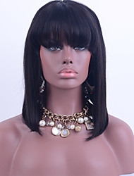 cabelos lisos virgem do cabelo peruca cheia do laço da Malásia com estrondo 130% do laço densidade do cabelo humano bob peruca cor preta