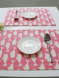 Rectangular Print / Patterned Placemat , Cotton Blend Material Hotel Dining Table / Table Decoration