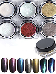 6pcs/lot Colorful Laser Silver Mirror Powder Rainbow Nail Powder Dust Glitter Chrome Pigment Nail Art Sequins Nail