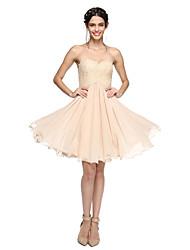 2017 lanting bride® genou en mousseline de soie / dentelle robe de demoiselle d'honneur lacets - sweetheart une ligne avec des perles