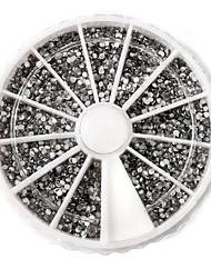 3600PCS 2 milímetros prego de prata circular de Arte acrílica Rhinestone